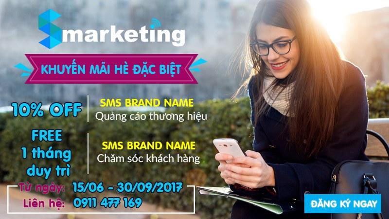 Ưu đãi đặc biệt mùa hè 2017 cho dịch vụ SMS BRAND NAME